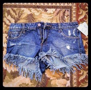 NWT Extreme Fray Hem Jean Shorts